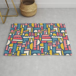 Abstract Colorful Shapes Collage Blue Pink Yellow White Rug