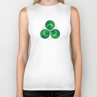 clover Biker Tanks featuring White Clover by Christopher Dina