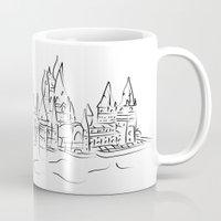 hogwarts Mugs featuring Hogwarts Castle by Jessica Slater Design & Illustration