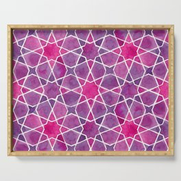 Watercolor - Islamic Geometry Serving Tray
