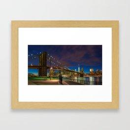 Warm Brooklyn Bridge Framed Art Print