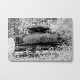 Rusting Station Wagon Infrared Black and White Abandoned Metal Print