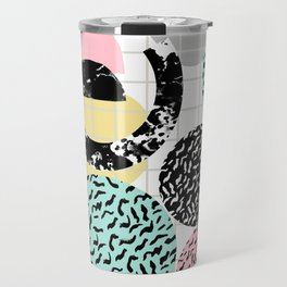 Amped - retro memphis throwback 80s style grid dots painting cut paper Travel Mug