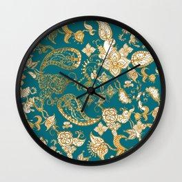 Golden Indian henna in green Wall Clock