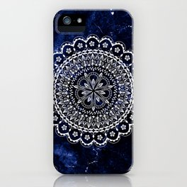 White mandala on blue marble iPhone Case