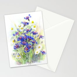 Meadow watercolor flowers with cornflowers Stationery Cards