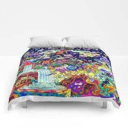 Illustration Comic: Neon Glow in Color Comforters