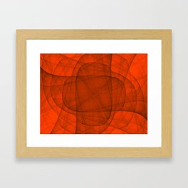 Fractal Eternal Rounded Cross in Red Framed Art Print