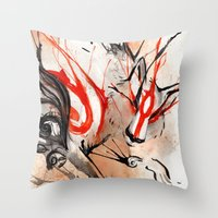 okami Throw Pillows featuring Okami Amaterasu Ink by Rubis Firenos