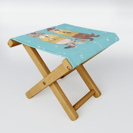 A GIRL WITH CAT and OTTER wide Folding Stool