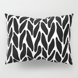 Hand Knitted Black on White Pillow Sham