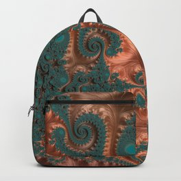 Copper Leaves - Fractal Art Backpack
