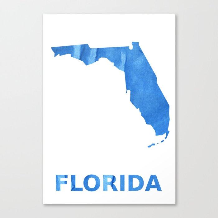 Florida Map Outline.Florida Map Outline Corn Flower Blue Colorful Watercolor Canvas