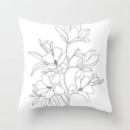 Minimal Line Art Magnolia Flowers Throw Pillow