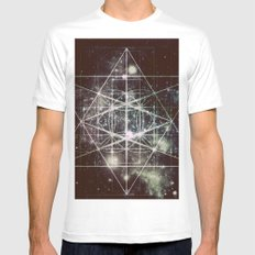 Galaxy sacred Geometry Dark Mens Fitted Tee MEDIUM White