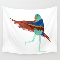 parrot Wall Tapestries featuring Parrot by Jade Young Illustrations