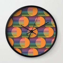 Tangerine Comet Rainbow Black Wall Clock