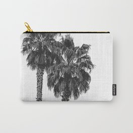 Dos Palmeras // Tropical Black and White Palm Tree Photography California Nature Ocean Vibes Carry-All Pouch