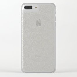 Gray Circle of Life Mandala on White Clear iPhone Case