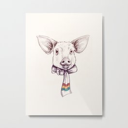 Pig and scarf Metal Print