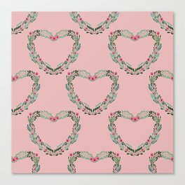 Heart Wreath Hand-painted in Green Ferns and Pink Blossoms on Pink Canvas Print