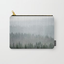 Parallax Monochromatic Misty Pine Forest Landscape Photo Carry-All Pouch