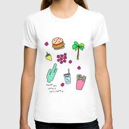 Dear My Lovely California - Burger Cactus Palm Tree Tropical Pattern T-shirt