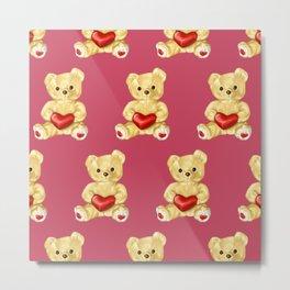 Cute Teddy Bears Pink Pattern Metal Print