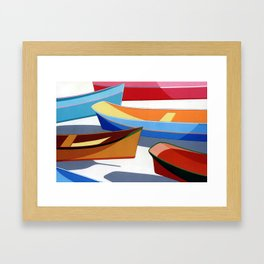 COLORED BOATS Framed Art Print