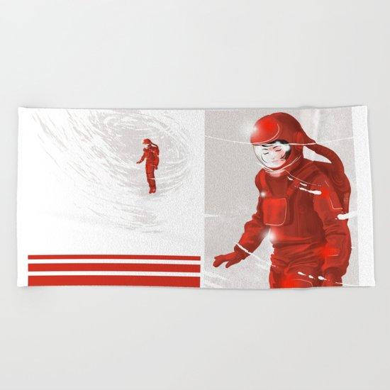 Hiroko in Storm // (astronaut girl) Beach Towel