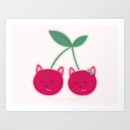 Cherry kitties Art Print