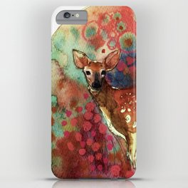watercolor deer iPhone Case