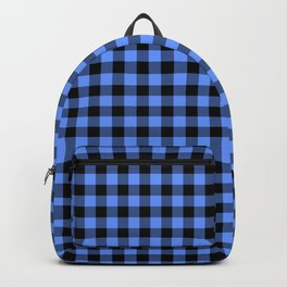 Classic Sky Blue Country Cottage Summer Buffalo Plaid Backpack