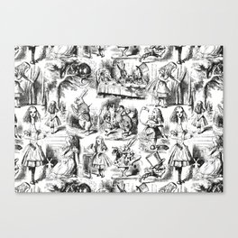 Alice in Wonderland | Toile de Jouy | Black and White Canvas Print