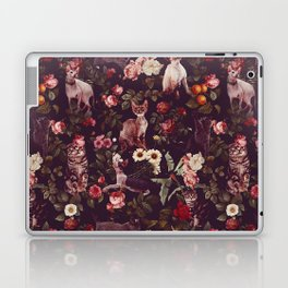 Cat and Floral Pattern Laptop & iPad Skin