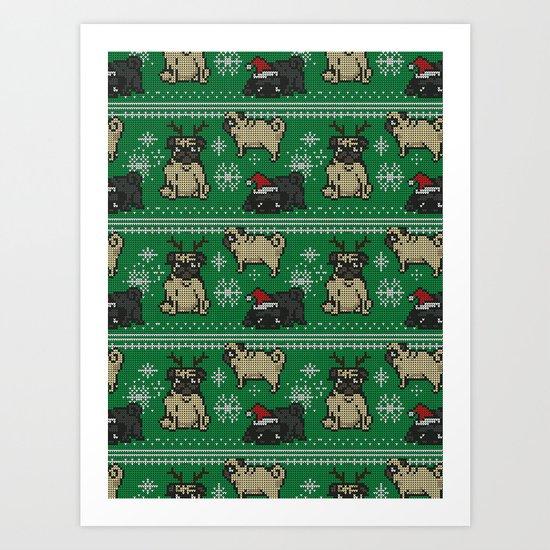 CHRISTMAS PUG Art Print