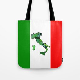 Map of Italy and Italian Flag Tote Bag