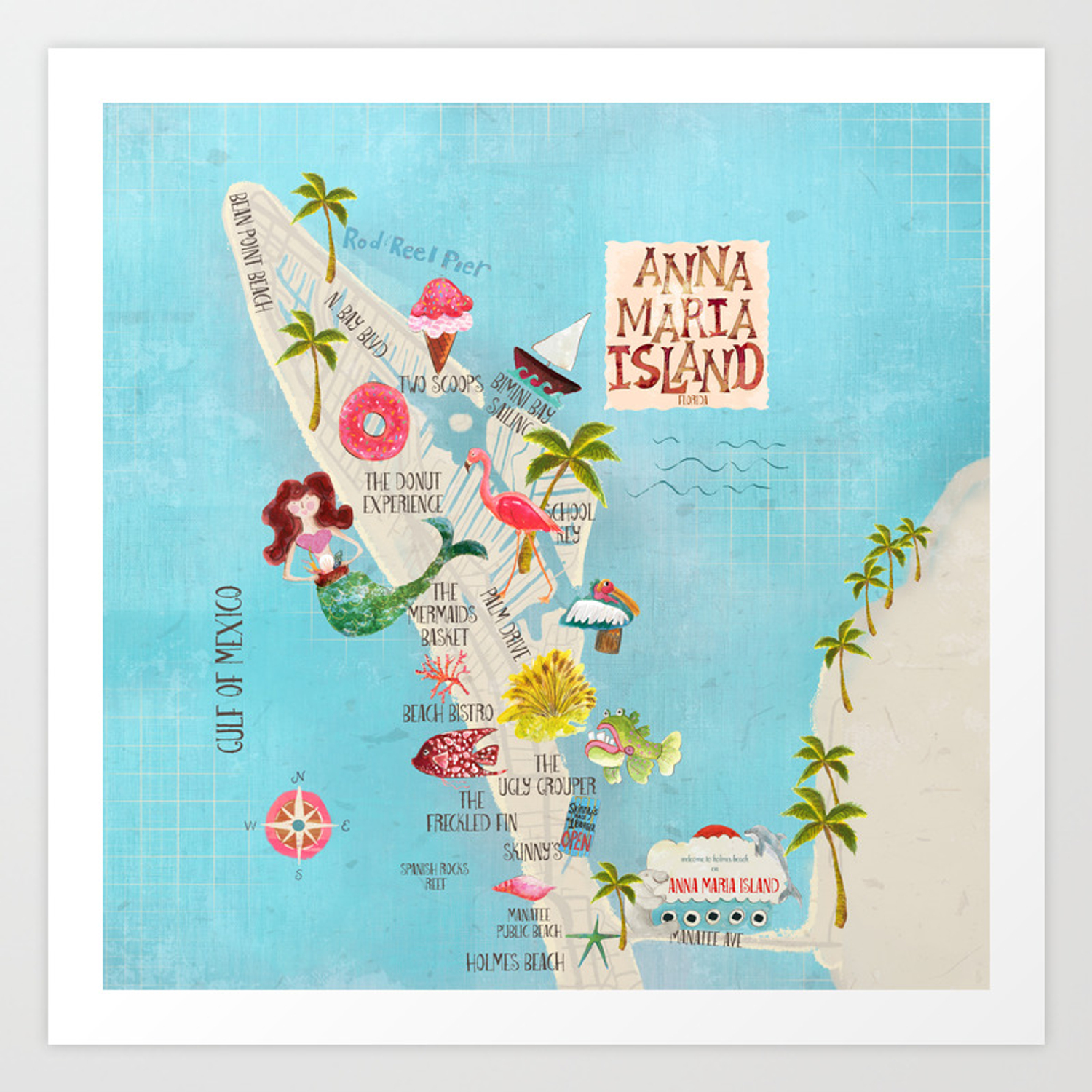 Anna Maria Island Map Art Print on map of longboat key, map of lee county, map of palm beach county, map of west palm beach, map of florida, map of upham beach, map of leu gardens, map of seaside, map of cape san blas, map of palm beach gardens, map of new smyrna beach, map of st. johns river, map of gulfport, map of eastern time zone, map of new port richey, map of indian rocks beach, map of celebration, map of st armands circle, map of little manatee river, map of pinellas county,