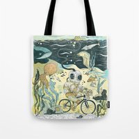 cycling Tote Bags featuring Cycling in the Deep by Dushan Milic