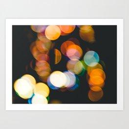 Defocused christmas lights Art Print