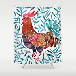 Le Coq – Watercolor Rooster with Turquoise Leaves Shower Curtain