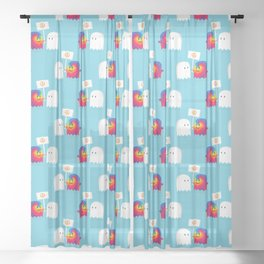 Hippie ghost Sheer Curtain
