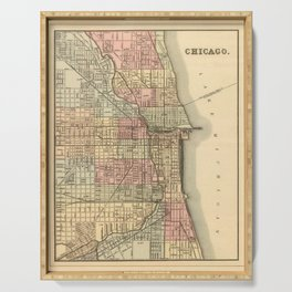 Vintage Map Of Chicago Serving Tray