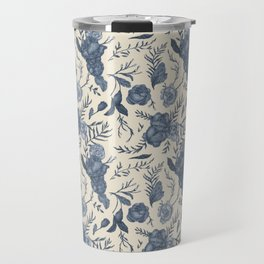 Blue Floral Pattern Travel Mug