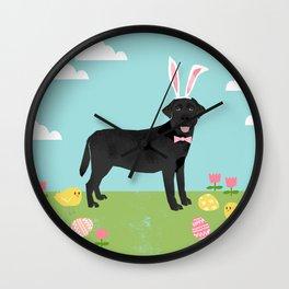 Black Lab labrador retriever dog breed pet art easter portrait costume spring Wall Clock