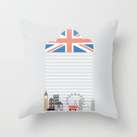 Raining Over London Throw Pillow