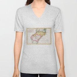 Vintage Map of The Carolinas (1780) Unisex V-Neck