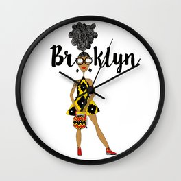 Earthling with curly hair has Brooklyn Glasses Wall Clock