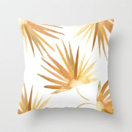 Golden Palm Leaf Throw Pillow