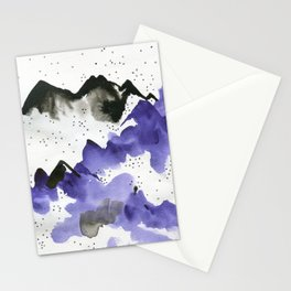 Purple and black on white Stationery Cards
